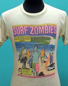Vintage Surf Zombies 80s Soft Thin T Shirt Small Great Print | eBay