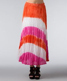 This Vasna Hot Pink & Orange Dip-Dye Maxi Skirt - Women by Vasna is perfect! #zulilyfinds