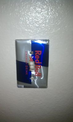 Redbull light switch cover! idea for joey's man cave :)
