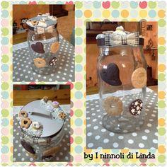 Biscottiera grande in vetro decorata con biscotti realistici creati con paste polimeriche...by I ninnoli di Linda