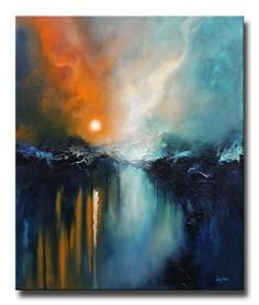 An abstract original oil painting on gallery-wrapped canvas by Christopher Lyter. Abstract Nature, Abstract Landscape Painting, Abstract Canvas Art, Seascape Paintings, Nature Paintings, City Painting, Modern Art, Fine Art, Art On Canvas