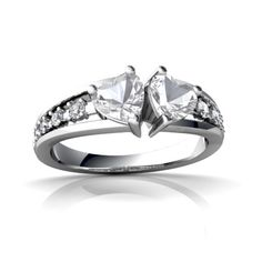 White Topaz Heart To Heart 14K White Gold Ring R3342 - front view