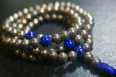 Gorgeous108 ct. 8mm Pyrite Mala with Lapis by LobsterIslandBeadery