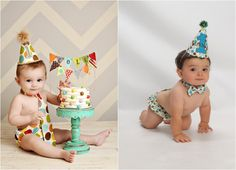 I love the pic on the left with the small cake on a pedestal. Polkadot theme