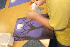 ART IS MAGIC! - for sharing all things art...: Fourth and Fifth Grade Tree Silhouette Landscapes - Like the Ghost Eye Tree Project I am doing but with several trees.  Like the style of these trees.