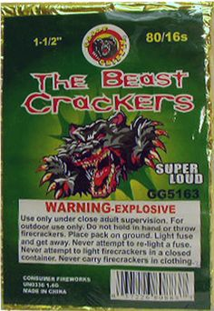 Firecracker 12-80-16 Brick - North Central Industries - www.greatgrizzly.com - MUNCIE INDIANA WHOLESALE FIREWORKS •Category: Firecrackers •Item Number: 1300 •Package Contents: 12-80-16 •Dimensions: 6 x 2 x 10 •Weight: 32lbs Brand Name: Great Grizzly, Shogun 2 Great labels to choose from: Thunderbomb by Shogun - or -  Great Grizzly