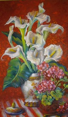 Oil painting by Helen Harper Helen Harper, Beautiful Flowers, Pottery, Oil Paintings, Heaven, Art, Vases, Milk, Flowers