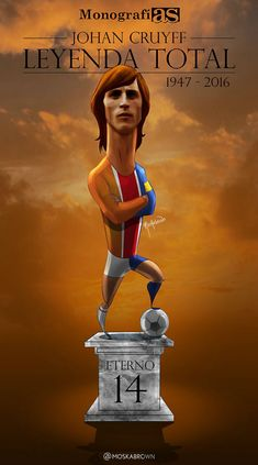 Johan Cruyff, Holland, Ajax and Barcelona Best Football Players, Football Is Life, Football Gif, Retro Football, Sport Football, Soccer, Sports Art, Sports Logo, Football Paintings