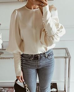 Shop Solid Round Neck Balloon Sleeve Blouse right now, get great deals at joyshoetique Trend Fashion, Fashion Outfits, Sleeves Designs For Dresses, Sleeve Dresses, Stylish Shirts, Looks Chic, Mode Hijab, Pattern Fashion, Shirt Blouses