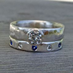 Moissanite, Sapphire, and Recycled Palladium Sterling Silver Wedding and Engagement Ring, Made To Order. $798.00, via Etsy.