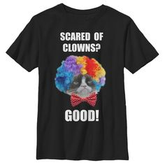 Grumpy Cat Boy's - Scared of Clowns T Shirt