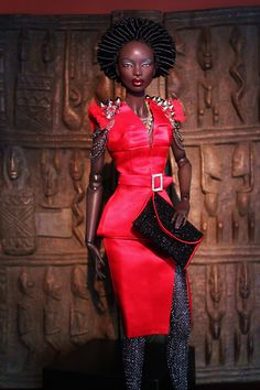 Black Barbie in a beautiful red outfit. I like it a lot.