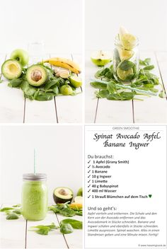 Grüner Smoothie mit Avocado Spinat Apfel und Ingwer // Green Smoothie with Avocado Spinach Apple and Ginger Avocado Smoothie, Green Detox Smoothie, Healthy Green Smoothies, Smoothie Cleanse, Green Smoothie Recipes, Smoothie Bowl, Cleanse Detox, Smoothie Drinks, Juice Cleanse