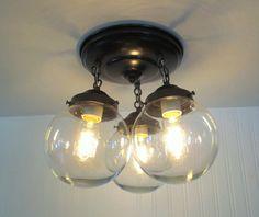 Inside garage door? Or Top of lower stairs???  https://www.etsy.com/listing/174696423/biddeford-ii-flush-mount-ceiling-lights