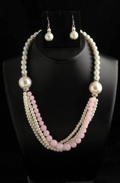 Polka Designer Ethnic Pearl Bead Necklace Designer Traditional Earring Set
