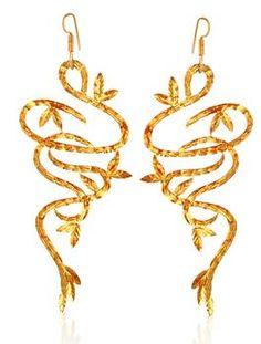 Vine Shape Fretwork Earrings by Eina Ahluwalia