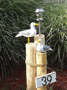 nautical lawn piling with seagulls solar light and address plaque, curb appeal, diy The most beautiful picture for home decor entryway , that suits yo Outdoor Projects, Outdoor Decor, Outdoor Living, Outdoor Spaces, Outdoor Lamps, Wood Projects, Solar Licht, Globe Decor, Address Plaque