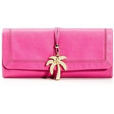 Leni Charm Oversized Leather Clutch ($158) ❤ liked on Polyvore