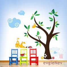 Get It Now Children Wall Decal Wall Sticker Kids Decal - Curious Dog and Ladybug with Clouds and Tree - by evgieNev. Baby Room Decals, Kids Wall Decals, Wall Stickers Dogs, Bird Tree, Tree Wall, Ladybug, Daycare Ideas, Daycare Setup, Dog Daycare