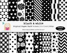 SALE Black White Digital Paper, Black White Scrapbook, Bumper Scrapbook, B&W Digital Paper, Birthday Paper, Instant Download, Comm. Use
