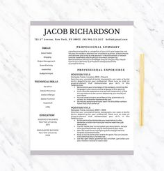 Professional Resume Template For Word Resume By Careerresumesinc