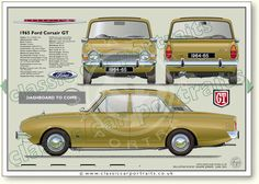 Ford Corsair GT V4 2000 4dr 1963-70 classic car portrait print