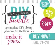 The Ultimate DIY Bundle: $1200+ Value of DIY eBooks, eCourses and Bonuses for Only $34.95. One Complete Package of eBooks and eCourses dedicated to your DIY & crafting needs! The Ultimate DIY Bundle is your instant go-to library for a whole range of practical, satisfying and fun ways to decorate, repair and create.