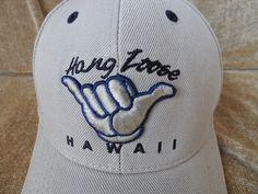 Hang Loose Hawaii Baseball Cap Hat Tan and Navy Blue adjustable size #Samscap #BaseballCap