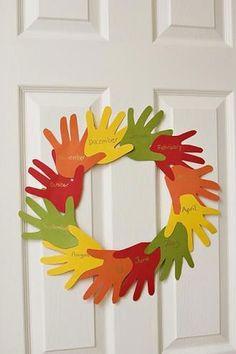 Fall Crafts for Kids - Handprint Wreath