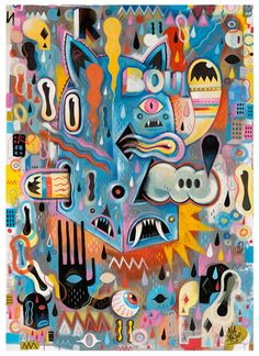 PAINTINGS by Seb NIARK1 FERAUT, via Behance - Abstract piece, with lots of colours, it is complex but with colours that complement each other.