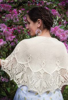 This shawl is a beautiful combination of cables and lace! Shawl Patterns, Sweater Knitting Patterns, Knitting Charts, Lace Knitting, Knitting Designs, Knitted Shawls, Crochet Scarves, Knit Or Crochet, Crochet Shawl
