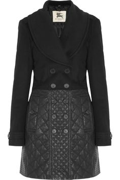 Burberry London Wool-blend and quilted leather coat <3