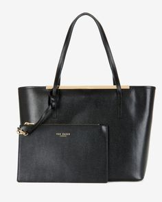 Crosshatch leather shopper - Black | Bags | Ted Baker