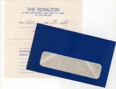 Years later, as a souvenir, Hélène gave me a Royalton message slip....