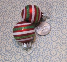 Christmas Sparkly Green, Lime Green, Bright Red, and White Candy Cane Stripped Mini Ornament Earrings