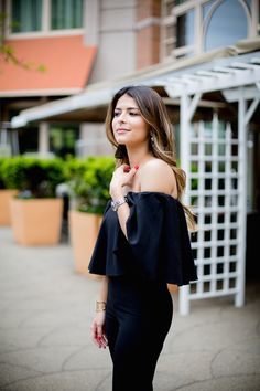 Frill Bardot Black Jumpsuit, Off-the-shoulder Jumpsuit | Pam Hetlinger, The Girl from Panama