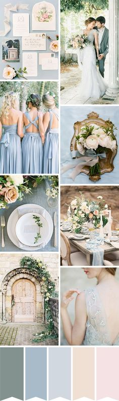 Classic and Chic. Duck egg blue, dove grey, soft pink, peach and antique gold. Love the bridesmaid dresses!