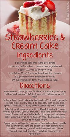 Strawberries & Cream Cake desert recipe recipes ingredients instructions desert recipes cake recipes easy recipes recipe ideas recipes for kids recipes to try mothers day recipes