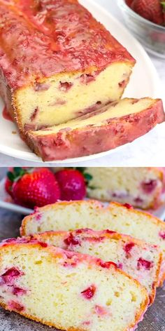 Deliciously moist and flavorful, this Strawberry Pound Cake is a one bowl treat that has a fruity and sweet glaze and satisfies that sweet tooth! Fun Baking Recipes, Sweet Recipes, Snack Recipes, Cooking Recipes, Quick Dessert Recipes, Healthy Cake Recipes, Recipes Dinner, Dinner Ideas, Healthy Snacks