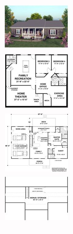 Ranch House Plan 92395 | Total Living Area: 1500 sq. ft., 2 bedrooms and 2.5 bathrooms. This carefully designed home includes a country kitchen, spacious family room and a guest room as well as a luxurious master suite. #ranchhome
