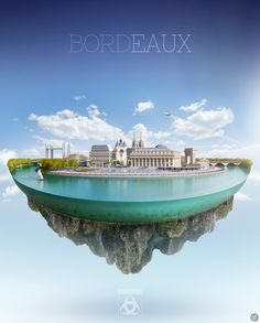 Bordeaux Illustration of Bordeaux (France), the « Port of the Moon », shape of the Garonne river crossing the city.  Full CGI visual. Guillaume Favre