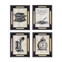 OFFICE ART vintage typewriter telephone clock by EphemeraAndMore, $28.00