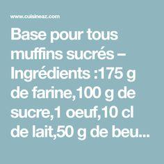 Base pour tous muffins sucrés – Ingrédients :175 g de farine,100 g de sucre,1 oeuf,10 cl de lait,50 g de beurre,1/2 sachet de levure,Garniture au choix : pépites de chocolat ...