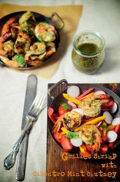 Grilled shrimp with Cilantro Mint Chutney by abrowntable @Nikki K Sharma