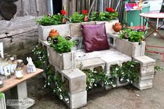This Concrete Chair Planter | 29 Insanely Cool Backyard Furniture DIYs