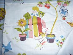 8 Vtg Mid Century Novelty Cotton Fabric Pinch Pleat Curtains Animals & Kids