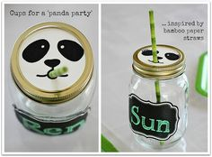 Panda Mason Jar Party Drink idea with striped paper straws Panda Themed Party, Panda Birthday Party, Panda Party, Diy Birthday, Birthday Party Themes, Birthday Ideas, Minion, Po Kung Fu Panda, Panda Decorations