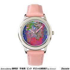 dotcookstar 腕時計 子供用 ピンク ギリシャの朝焼け リストウオッチ