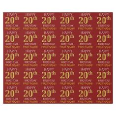 """Red Faux Gold """"HAPPY 20th BIRTHDAY"""" Wrapping Paper - elegant gifts gift ideas custom presents"""
