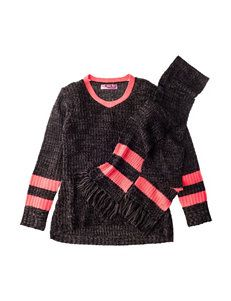 Planet Gold Hi-Lo Sweater with Scarf - Girls 7-16